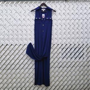 NWT Michael Kors navy sleeveless maxi shirt dress